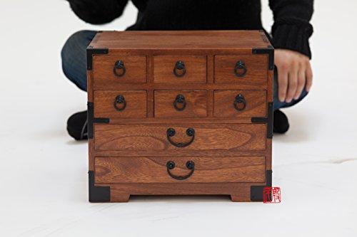 Japanese tansu style jewelry box, KB22, 8 drawers box, solid kiri wood