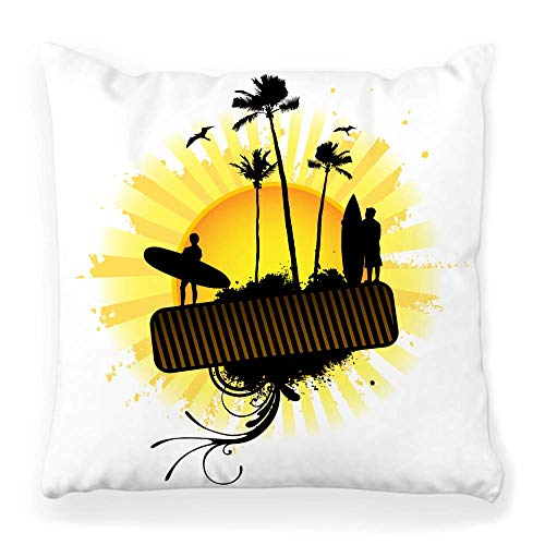 Fantastic Fairy Soft Square Pillow Cover 20x20 Sun Surfing Beach Bird Dirty Drop Grunge Ideas and Painting Inspiration Island Male Home