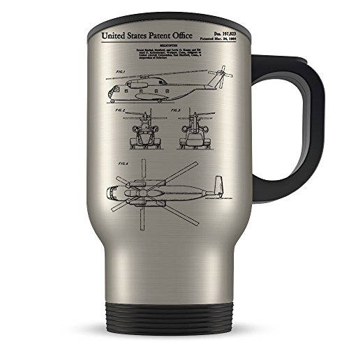 Helicopter Travel Mug for Men and Women - Helicopter Coffee Cup for Student Graduation or Profession - Best Flying Themed Gift Idea - Cool Invention Patent