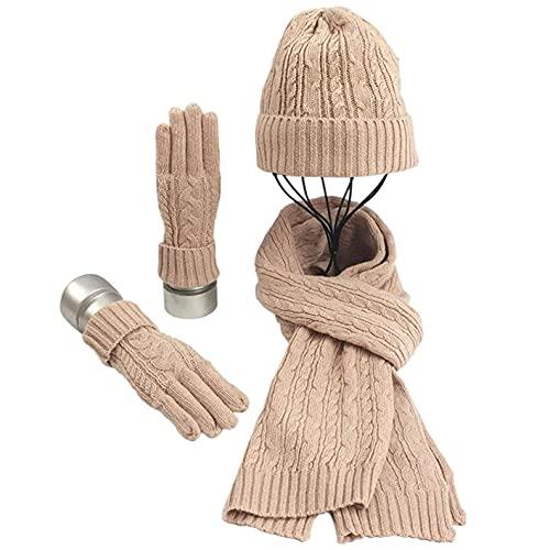CheChury Conjunto de Bufanda Gorro de Punto y Guantes Mujer Conjunto de Chal Crochet Invierno Beanie Cozy Grande Bufanda Sombrero Moda Suave y Cálida Caliente Guantes Invierno Regalos,Rosado