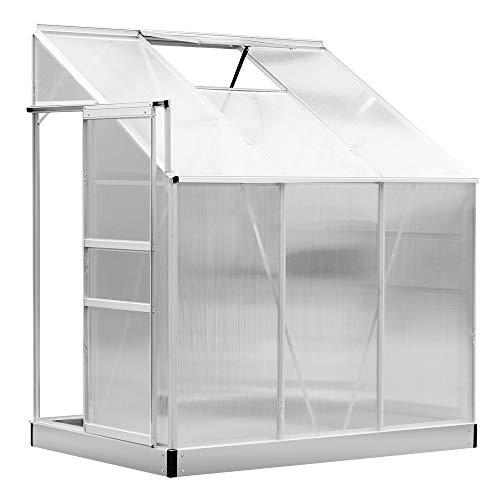 Outsunny Serre de Jardin adossée Aluminium Polycarbonate 2,49 m² dim. 1,9L x 1,31l x 2,15H m avec fenêtre et Porte coulissante