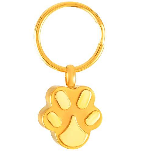 Crematie Key Ring voor Ashes, gratis inscriptie Aangepaste roestvrij staal Pet Dog Paw Urn Keychain Sieraden voor Vrouwen Mannen,Gold