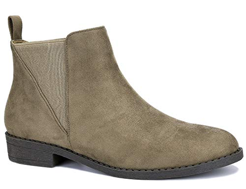MaxMuxun Damen Stiefeletten Chelsea Boots Mit Dreieckig Elastische Tuch Graubraun Größe 37 EU