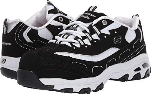 Skechers Women's Athletic Alloy Toe Industrial Shoe, Black White, 6.5