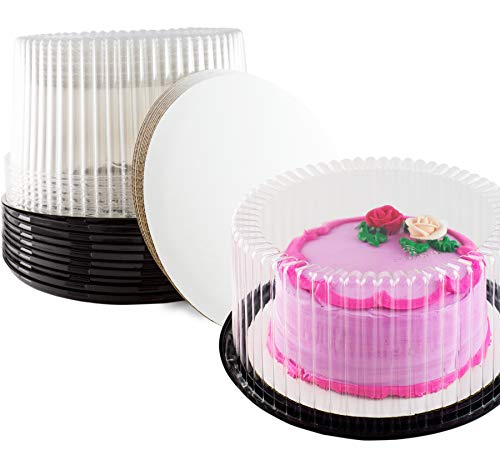 Cake Display containers (9 Inch Cake Container, With Cake Boards Set of 10)