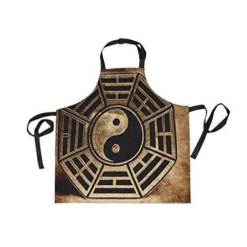 XiangHeFu Bib Aprons met 2 Zakken Vintage Yin Yang Gossip 27,5 x 29 Inch Verstelbare Neck Band voor Mannen Vrouwen Koken Bakken Chef Keuken