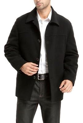 BGSD Men's Matthew Wool Blend Car Coat Black Big and Tall 4XLT by
