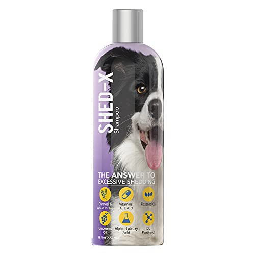 Shed-X Shed Control Shampoo for Dogs and Cats, 16oz – Reduce Shedding, Dander, Allergens – Infuses Skin and Coat with Vitamins and Antioxidants to Clean, Release Excess Hair and Exfoliate