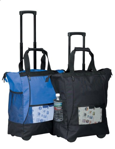 On The Go Rolling Shopping Tote w/Wheels - Blue