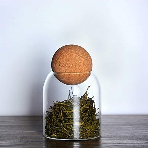 NFLOBD Glazen voorraadglas, met glas verzegelde blikjes met kurk, helder bewaarbakje voor levensmiddelen om thee koffie kruidensuiker te serveren, 500 ml