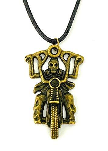 Collar con colgante de esqueleto de bronce en motocicleta con diseño de...