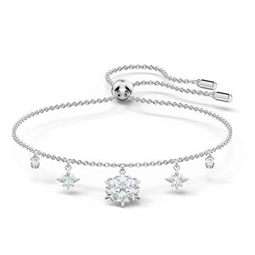Swarovski Magic Armband, Rhodiniertes Damenarmband mit Eleganten Schneeflocken-Anhängern und Funkelnden Weißen Kristallen