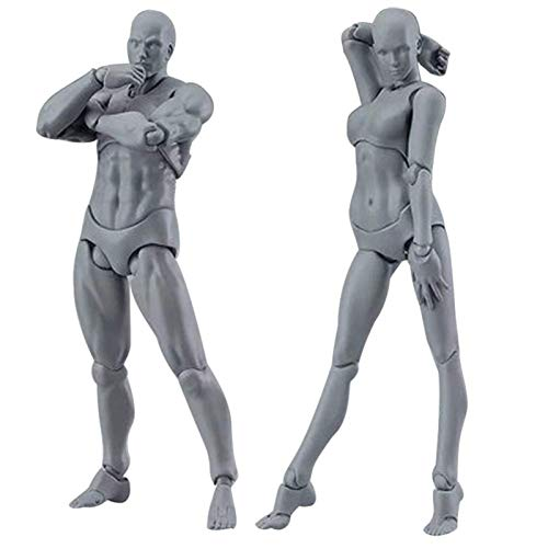 Bliev 2 Pcs/Set Art Mannequin Set Light Body Chan & Kun PVC Movebale Action Figure Model for SHF Version 2.0 Gifts for Sketching Painting Drawing Artist