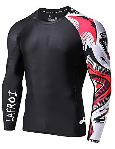 Lafroi - Camiseta térmica de licra, de compresión, para hombre, de manga larga, con protección UPF 50+, ajustada, modelo CLYYB, Hombre, GB-CLYYB_Bt-C-Asym Mecha-XXXL, Mecha asimétrica, 3XL