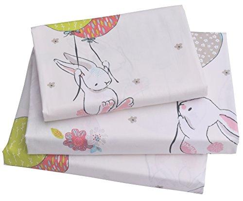J-pinno Cute Cartoon Rabbit Bunny Twin Sheet Set for Kids Girl Children,100% Cotton, Flat Sheet + Fitted Sheet + Pillowcase Bedding Set