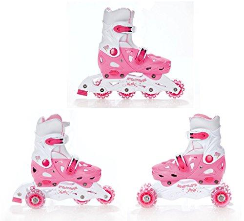 Croxer 3in1 Kinder Inlineskates/Triskates/Rollschuhe Balloon Pink verstellbar 33-36 (20cm-22,5cm)