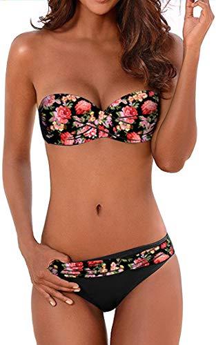 EUDOLAH Damen Bandeau Padded Bikini-Set Trägerlosen Badeanzug Push Up (Large Z-Z-Blumen 1)