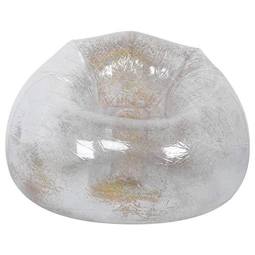 zcyg Sofá inflable, silla inflable plegable transparente para adultos con decoración de lentejuelas para el ocio siesta durmiendo oro