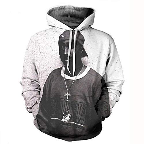 hengGuKeJiYo 2Pac Tupac Amaru Shakur Herren Langarm Hoodies Sweatshirt, Herren Kapuzenpullover Pullover Trainingsanzüge mit Front Kangaroo Pocket