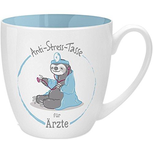 Gruss & Co 45483 Anti-Stress Tasse für Ärzte, 45 cl, Geschenk, New Bone China, Blau, 9.5 cm