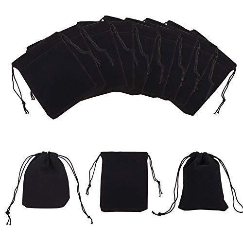 NBEADS 100 Bolsas de Terciopelo para Joyería, 8.5 x 7 cm Bolsas de Tela con Cordón para Embalaje de Regalo para Fiestas, Negro