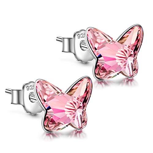ANGEL NINA Pendientes de cristal para mujer Pendientes de plata para mujer Pendientes de botón para niñas Pendientes de niña Pendientes de plata 925 Regalos para su Día de San Valentín