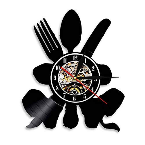 ZhangXF Restaurant Cutlery Knife and Fork Pattern Hollow Vinyl Record Wall Clock LED Luminous 12 Inch Retro Vinyl Record CD Clock Best Gift for Living Room Interior Decoration Seven Colors,Withoutled