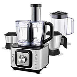 Inalsa Food Processor INOX 1000-Watt With Blender Jar / 304 Grade SS Dry Grinding / Chutney Jar / 12 Accessories | 2 Yr Warranty on Motor |Centrifugal/ Citrus Juicer | (Black/Silver),Tuareg Marketing Pvt.Ltd,Inox