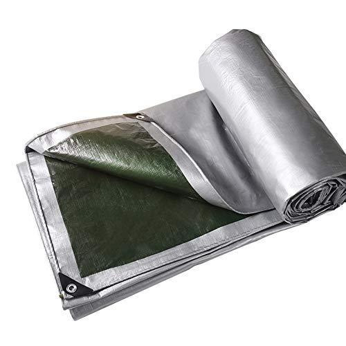 Heavy Duty Tarp Tarpaulin Canopy Tent, Versterkt Waterdicht Dik Dubbelzijdig 180g/Vierkante Meter Polyethyleen PE Builders Grondplaat Cover,Cover Tarp voor Outdoor Camping Tuin Auto, Zilver