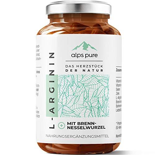 L-Arginin Plus + Brennnessel-Extrakt, Selen und Zink Kapseln alps pure | innovativer Alpenkräuter-Mikronährstoff-Mix | 100% vegan, sojafrei und glutenfrei | 60 Stück HPMC-Kapseln