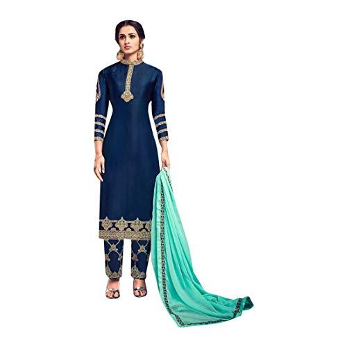 ETHNIC EMPORIUM Indische pakistanische gerade Salwar Anzug Hochzet Damen Kamiz Kameez Bollywood Kleid Mädchen gerade Hosen Georgette Hochzeitskleid Herren Kleid Frauen 749