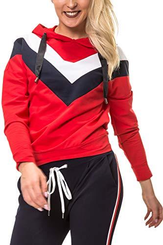 Hailys Damen Langarmshirt mit Kapuze Hoodie Longsleeve Shirt Kapuzenpullover (Medium, Red)
