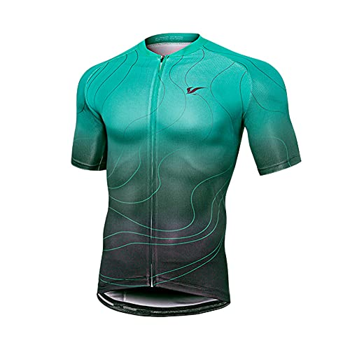 Men?s Cycling Jersey, Short Sleeve Biking Cycle Tops Mountain Bike Shirt Top Zipper Pockets Reflective Quick Dry Breathable Racing Bicycle Clothes (Green,S)