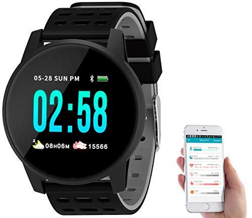 Newgen Medicals Fitness Armbänder: Fitness-Uhr mit Herzfrequenz- und Nachrichten-Anzeige, Bluetooth, IP65 (Smartwatch mit Herzfrequenzmesser)