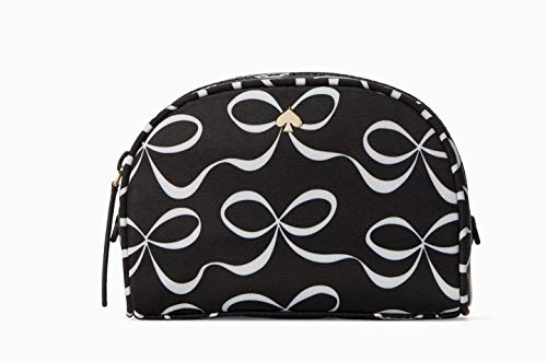 Kate Spade Small Dome Black & White Jae Elegant Bows Cosmetic Bag