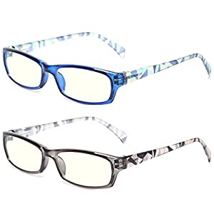 2 Pair Computer Glasses – Anti-blue glasses – Blue Light Blocking Reading Glasses for Women