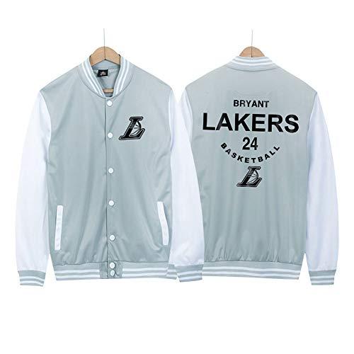 Lakers No. 24 Kobe Uniforme de béisbol Chaqueta de Baloncesto Hip-Hop para Hombre Chaqueta Bomber, Fina Primavera y otoño Grey-XL