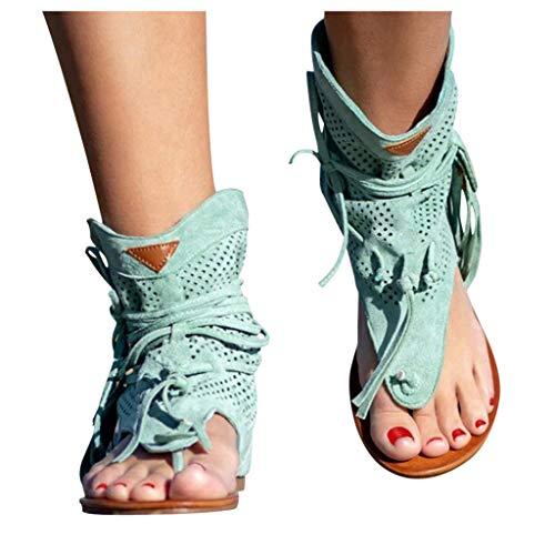 Writtian Sandalias Planas para Mujer, Sandalias de borlas con Punta de Clip y Gamuza Retro, Botines de Verano Transpirables con Flecos