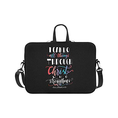InterestPrint Bible Verse Philippians 4_13 I Can Do All Things Through Christ Laptop Sleeve Shoulder Bag with Handle & Strap, Notebook Computer Carrying Bag 17 17.3 Inch for MacBook Dell HP Woman Man