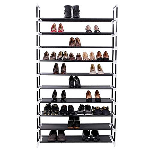 HQSB Zapatero de 10 niveles, 50 pares, organizador de zapatos de tela no tejida, organizador de zapatos, color negro