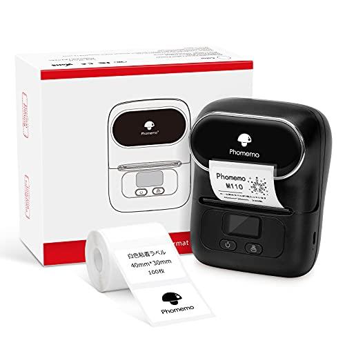 モバイルラベルメーカー Phomemo M110 サーマルラベルプリンタ スマートフォン用Bluetoothワイヤレスラベルプリンター プライス/アドレス/クラスフィケーション/ジュエリー/バーコードラベルに最適です 透明ラベル印刷 1ロール付き 40×3