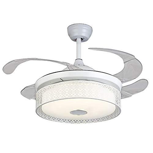 Ventilador de techo de 100 cm con LED regulable y luces retráctiles, mando a distancia invisible, lámpara de araña para salón