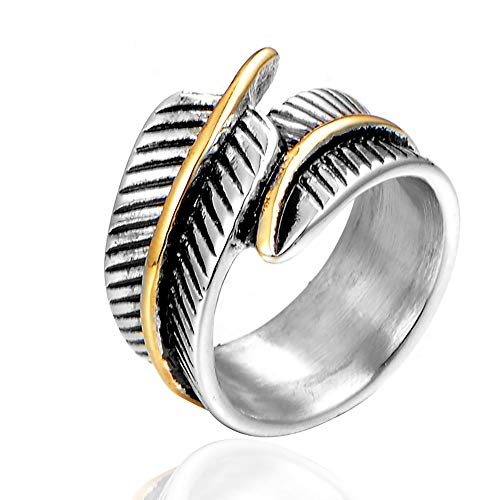 TnSok Simple Stainless Steel Men's Titanium Steel Feather Ring Carved Metal Punk Rock Ring Handsome Ring (Color : Silver, Size : 9)