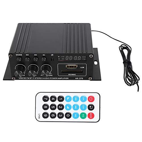 Garsent Amplificador de Audio, 12V Mini Amplificador de Potencia Digital Amplificador Estéreo de Alta Fidelidad con Control Remoto para Altavoces Domésticos