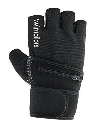 twintailors Handschuhe mit Fach | Trainings-Handschuhe | Fahrrad-Handschuhe | Segel-Handschuhe | Fach mit Reisverschluss | Sport-Handschuhe