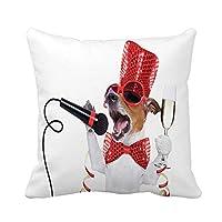 大晦日を祝うジャックラッセル犬の枕カバーを投げるシャンパングラスの枕カバーホーム装飾的な正方形の枕カバークッションカバー,50x50 cm
