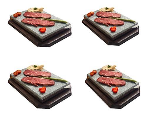 Piedra para Carne de 20x30x3 Especial Restaurante Promoción Cuatro Unidades