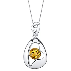 Sterling Silver Minimalist Pendant Necklace In Citrine Color