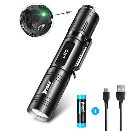 LED Taschenlampe 1200 Lumen USB Wiederaufladbare Tragbare Outdoor Lampe Wasserdicht IP68, WUBEN L50 Superhelle Taschenlampe 5 Modi, Memory Funktion, Geeignet Camping Suche und Rettung, Nachtangeln