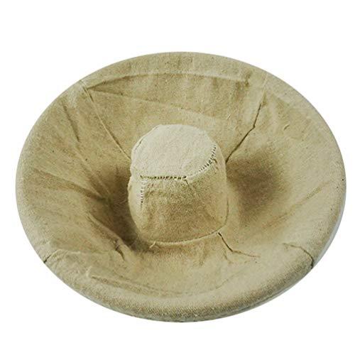 Cuenco para masas Pequeña y Funda de Lino Cesta para Masa y fermentación de Pan (Cesta Circular Hueca + Funda Circular Hueca, 29 * 6.5cm)